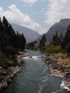 Crossing the Urubamba river at the start of the Inca trail