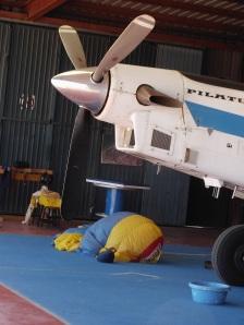 Pilatus and parachute