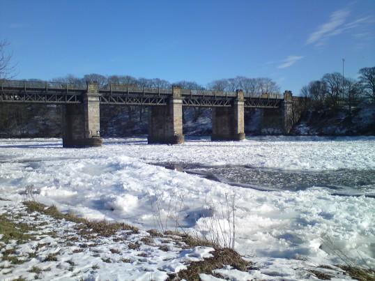 River Dee frozen in winter