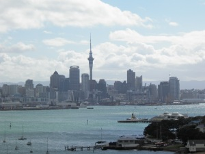 Auckland City skyline with Devonport in foreground