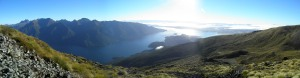 Panorama of Lake Te Anau with the Murchison Mountains