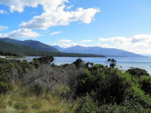 Lake Te Anau from the carpark with Mt Luxmore to the left of the picture