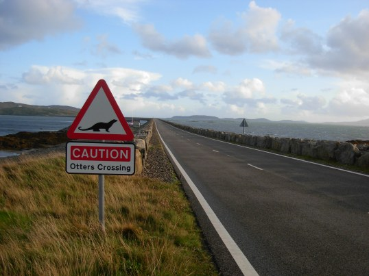 Road sign at the South Uist to Eriskay causeway