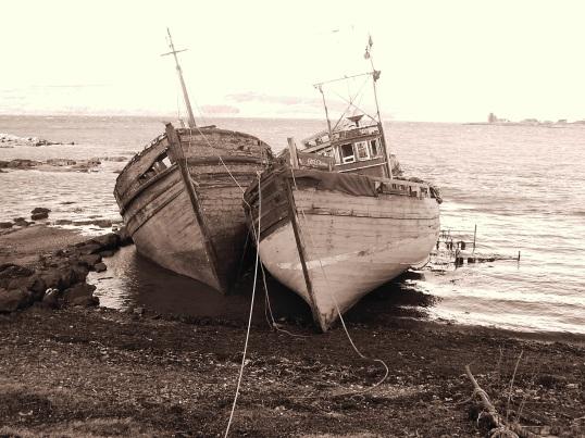 Abandoned boats on the Mull coastline