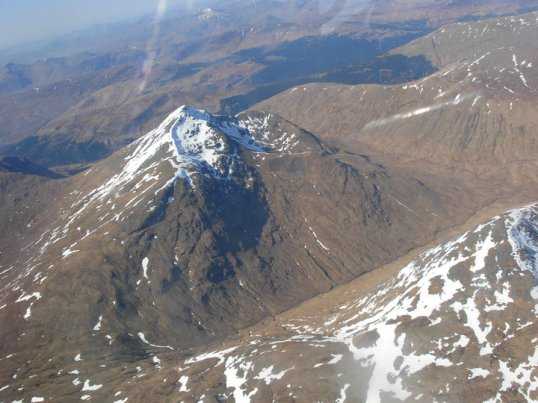 Flying over the mountains to the east of Oban