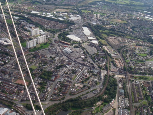 Flying over the suburbs of Glasgow