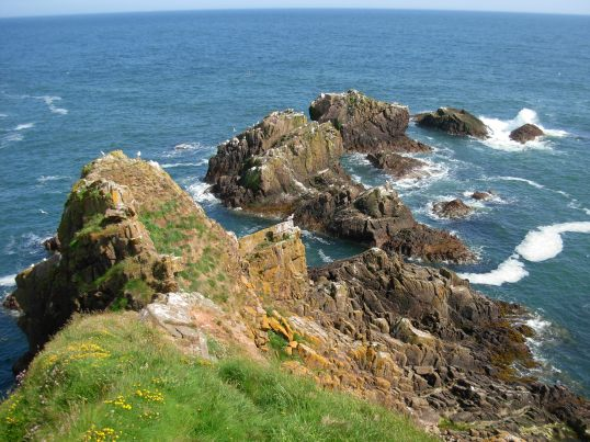 North Sea coastline at Slain's Castle