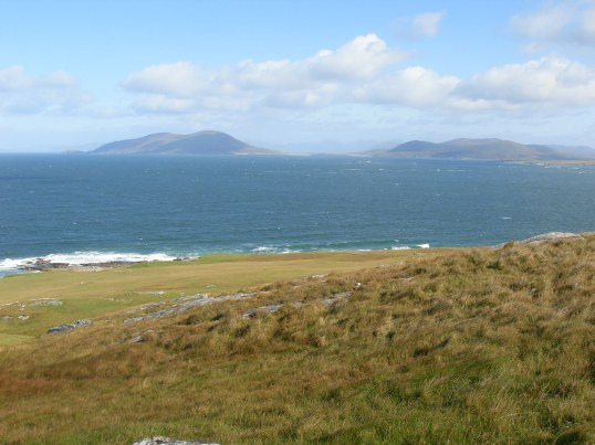 Looking across to Ensay & Killegray from Beinn Shleibhe on Berneray