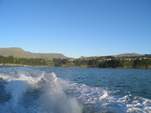 On the ferry looking back to Diamond Harbour with Mt Herbert behind