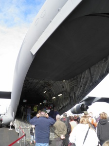 The cargo entrance to the US Air Force plane