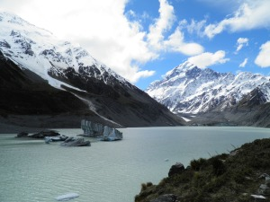 Icebergs on Hooker glacier terminal lake with Mt Cook