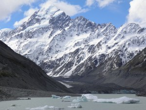 Iceberg graveyard with the Hooker glacier face evident in the background at the foot of Mt Cook