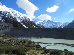 Mueller glacier lake with Mt Cook in the distance
