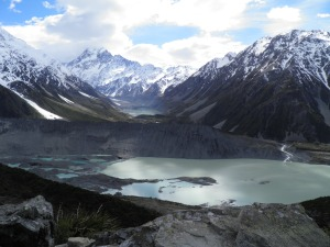 Looking towards Mt Cook with the hooker glacier lake behind and the mueller glacier lake in the foreground
