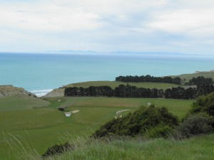 Looking out to sea with Banks Peninsula visible on the horizon