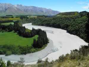 Rakaia river winding downstream
