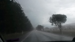 Driving through a thunderstorm