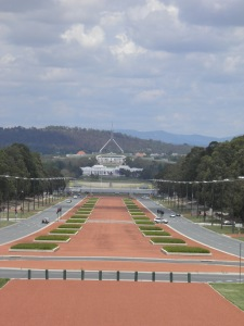 ANZAC Parade and the two Parliament buildings beyond
