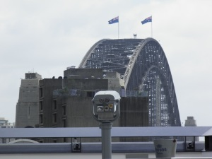 Sydney Harbour Bridge with the fireworks strapped on