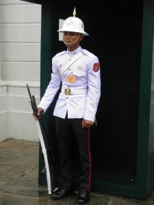 Standing guard outside Barom Phiman Hall