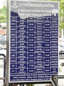 Timetable at Thonburi Station