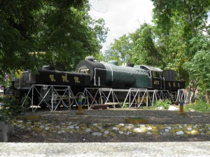 Steam train outside Kanchanaburi station