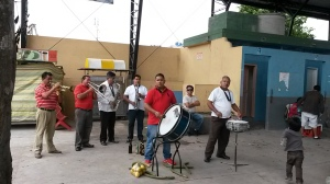 Local band at fruit and veg market