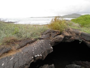 Lava tunnel heading out to sea
