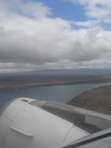Flying over the Itabaca Channel between Baltra island and Santa Cruz