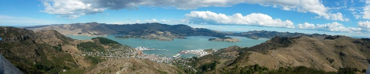 Panorama over Lyttelton harbour from the gondola viewing platform