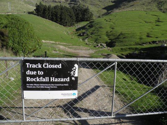 Closed track in a rockfall zone