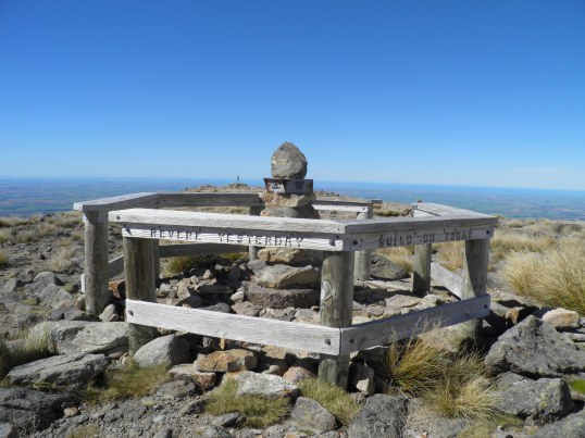 Monument & trig marker on Mt Somer's summit