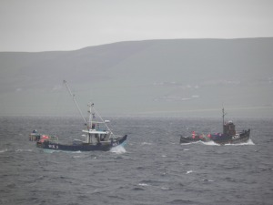 Fishing boats on route to Westray