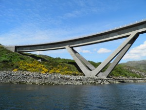 Sailing under Kylesku bridge