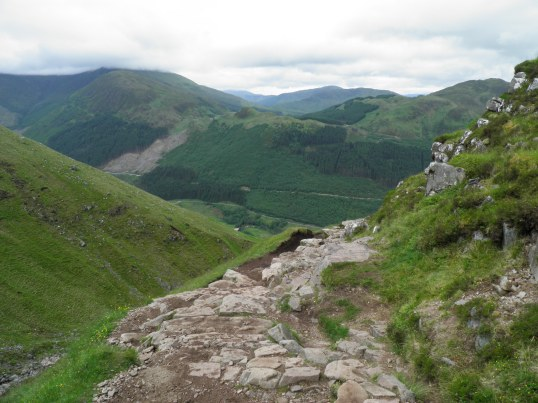 Looking back after turning up Red Burn valley (the end of the West Highland Way is visible across Glen Nevis)