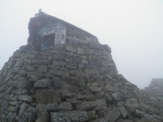 Some hikers make use of the summit shelter