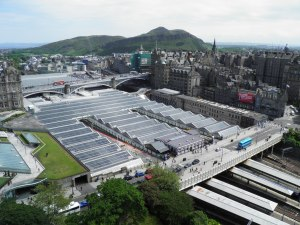 Waverley Station and looking further to Arthur's Seat