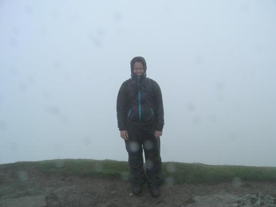 Obligatory summit photo at Ben Lomond in the rain