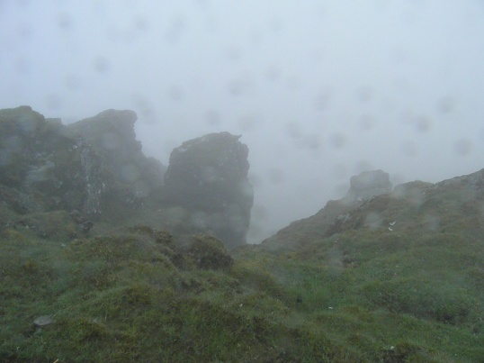 Looking down towards the Ptarmigan Route in the driving rain