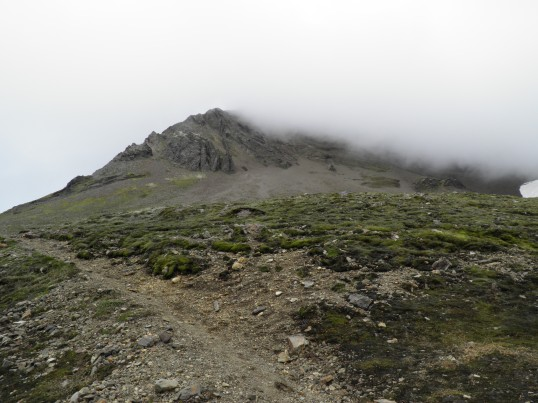 The low cloud shrouding the trail up Kristínartindar