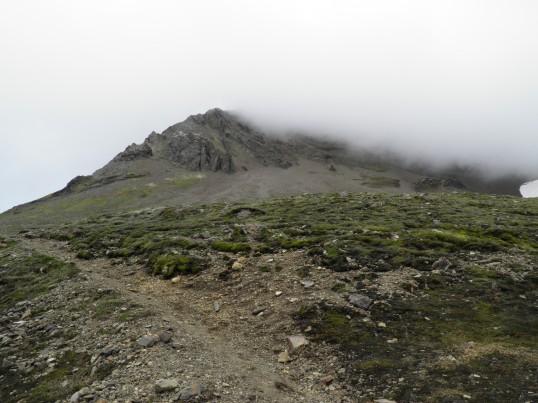 The low cloud shrouding the trail up Kristínartindar