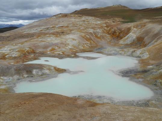 Mineral lake near lava field