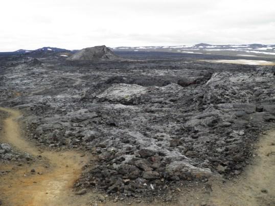 Walking across the lava field