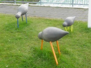 Bird sculpture by Husavik main street