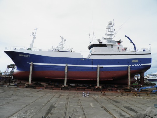 Boat in dry dock