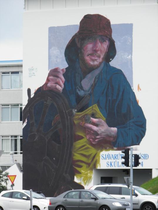 Fisherman mural in Reykjavik