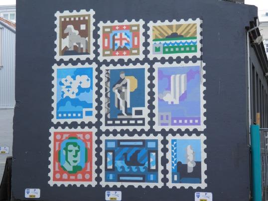 Stamp mural in Reykjavik