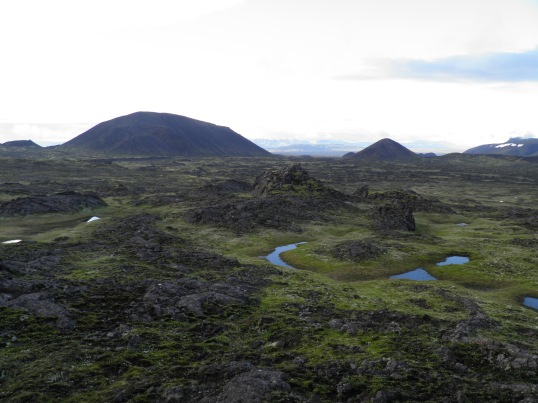 Hiking back across the lava field