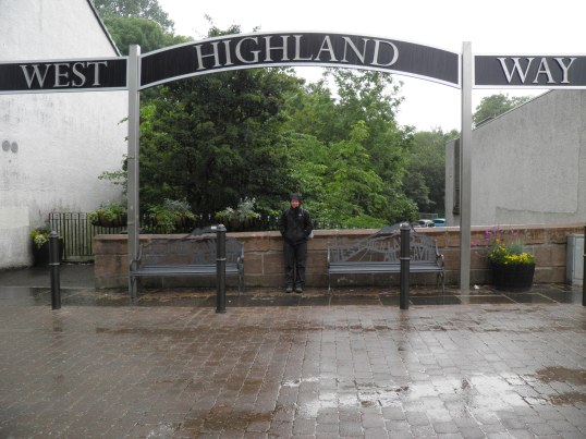 In full waterproofs at the start of the West Highland Way