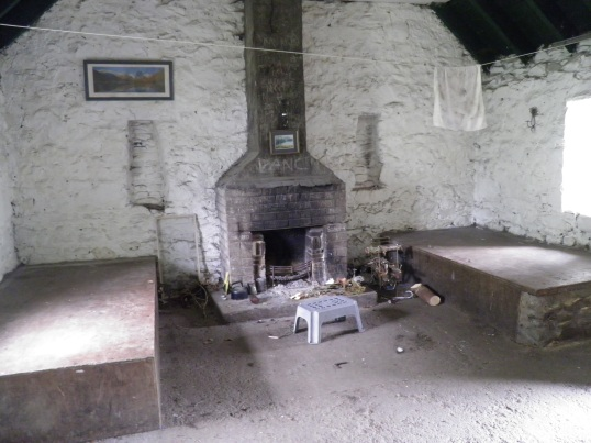 Fireplace inside the bothy
